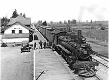 black and white photo of C.N.R. Locomotive at the Langley Railway Station, 1924